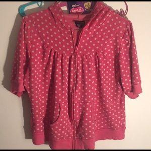 Torrid Shirt Sleeve Polka Dot Hoodie